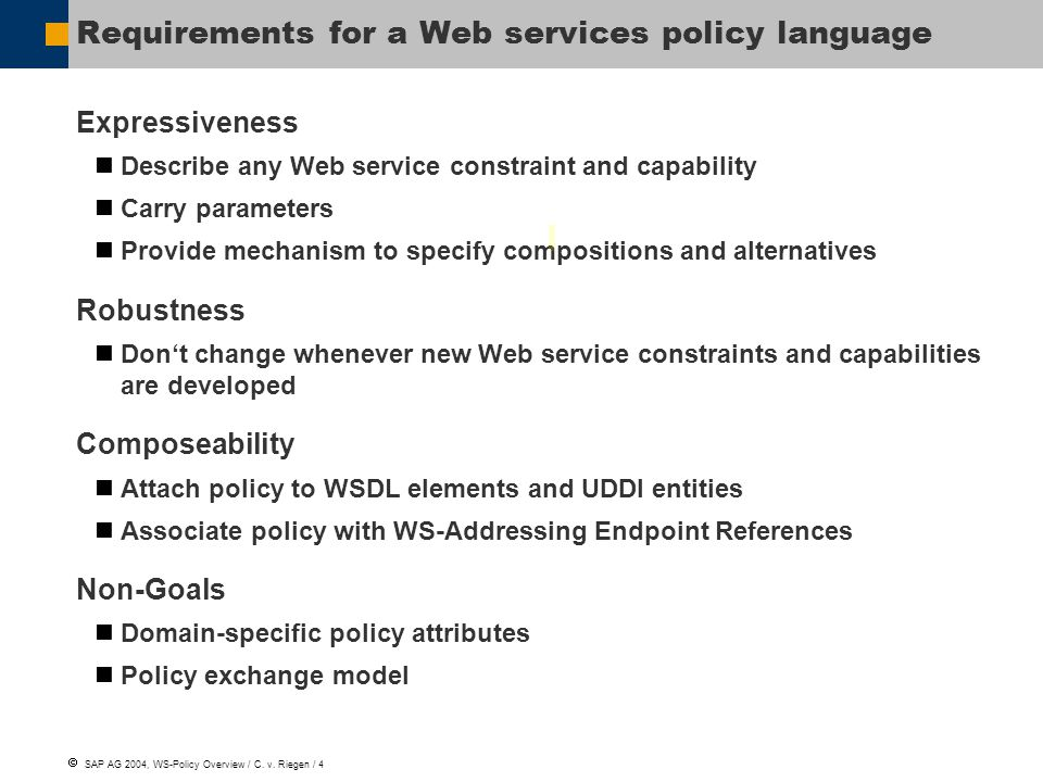  SAP AG 2004, WS-Policy Overview / C. v.