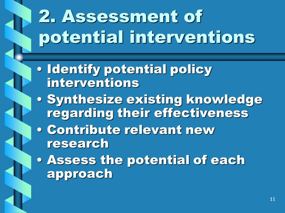11 2. Assessment of potential interventions Identify potential policy interventionsIdentify potential policy interventions Synthesize existing knowled