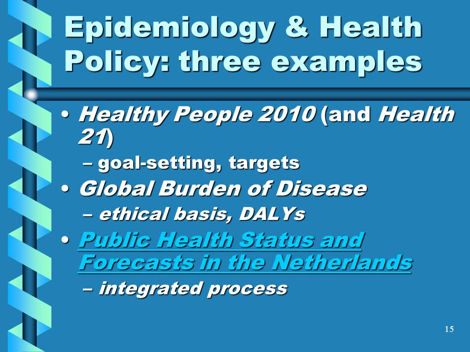 15 Epidemiology & Health Policy: three examples Healthy People 2010 (and Health 21)Healthy People 2010 (and Health 21) –goal-setting, targets Global Burden of DiseaseGlobal Burden of Disease –ethical basis, DALYs Public Health Status and Forecasts in the NetherlandsPublic Health Status and Forecasts in the NetherlandsPublic Health Status and Forecasts in the NetherlandsPublic Health Status and Forecasts in the Netherlands –integrated process