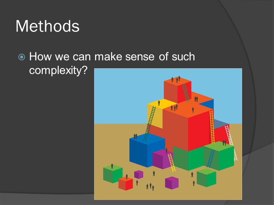 Methods  How we can make sense of such complexity?