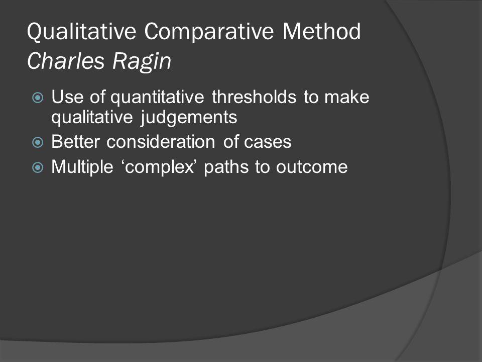 Qualitative Comparative Method Charles Ragin  Use of quantitative thresholds to make qualitative judgements  Better consideration of cases  Multipl