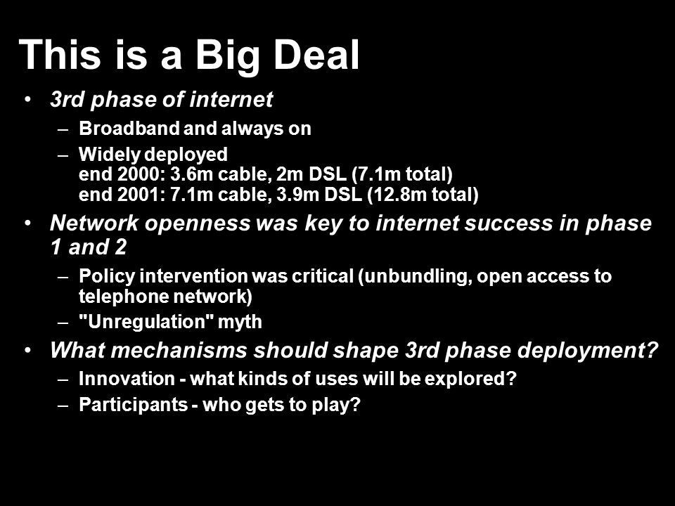 Competition won t open networks What is the relevant market.