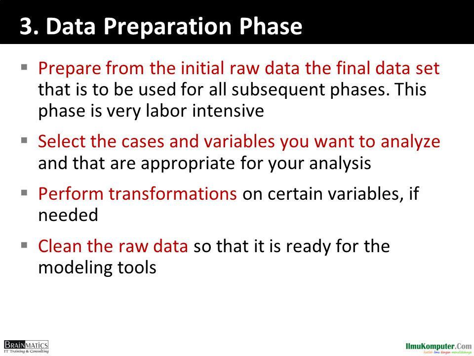 3. Data Preparation Phase  Prepare from the initial raw data the final data set that is to be used for all subsequent phases. This phase is very labo
