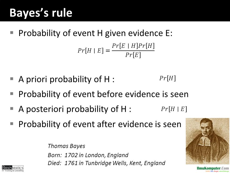 Bayes's rule  Probability of event H given evidence E:  A priori probability of H :  Probability of event before evidence is seen  A posteriori probability of H :  Probability of event after evidence is seen Thomas Bayes Born:1702 in London, England Died:1761 in Tunbridge Wells, Kent, England