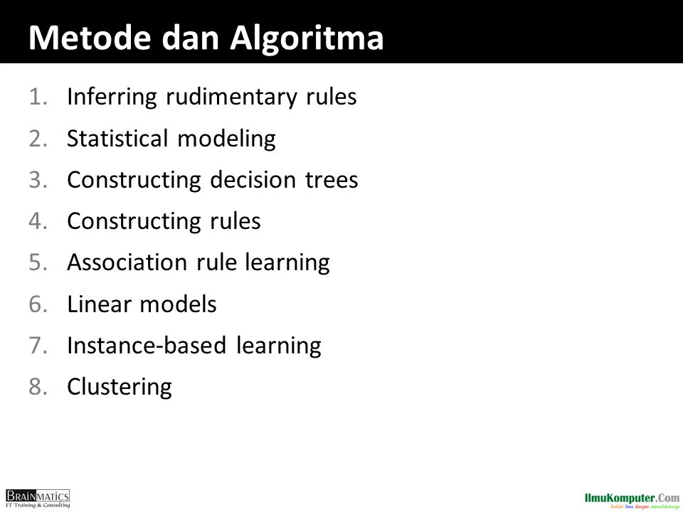 1.Inferring rudimentary rules 2.Statistical modeling 3.Constructing decision trees 4.Constructing rules 5.Association rule learning 6.Linear models 7.Instance-based learning 8.Clustering