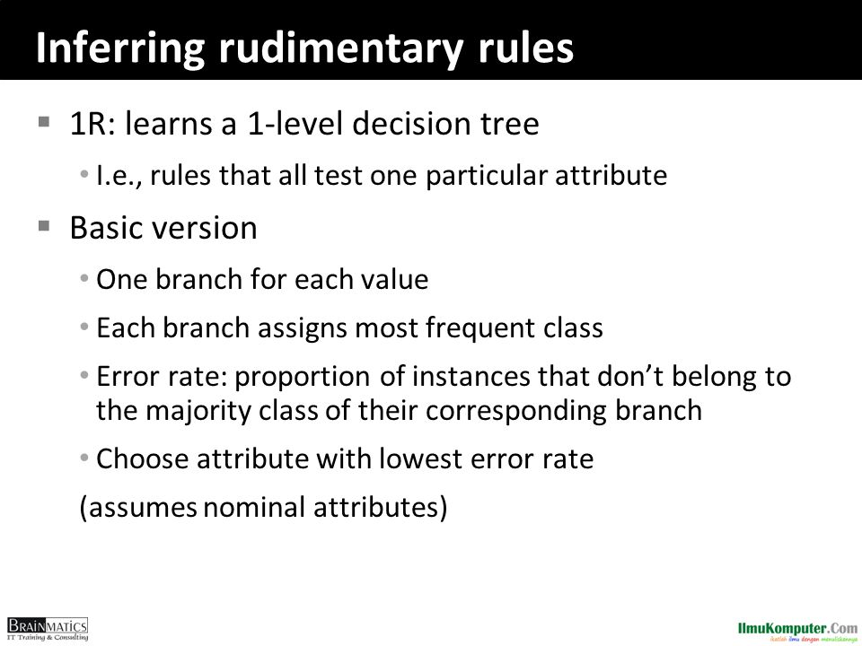 Inferring rudimentary rules  1R: learns a 1-level decision tree I.e., rules that all test one particular attribute  Basic version One branch for each value Each branch assigns most frequent class Error rate: proportion of instances that don't belong to the majority class of their corresponding branch Choose attribute with lowest error rate (assumes nominal attributes)