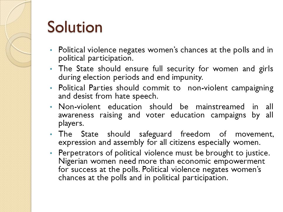 Solution Political violence negates women's chances at the polls and in political participation.