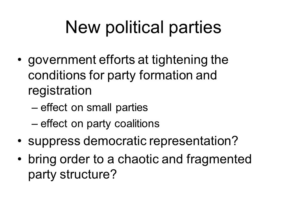 Centrist parties of power Our Home is Russia (1995 - ) –pro-government –centrist –moderately reformist –then Prime Minister headed it –never succeeded in defining a clear program –became a coalition of officeholders