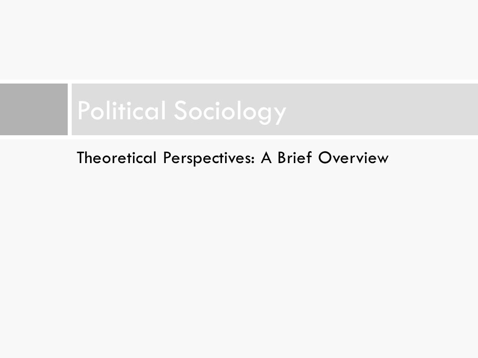 Theoretical Perspectives: A Brief Overview Political Sociology