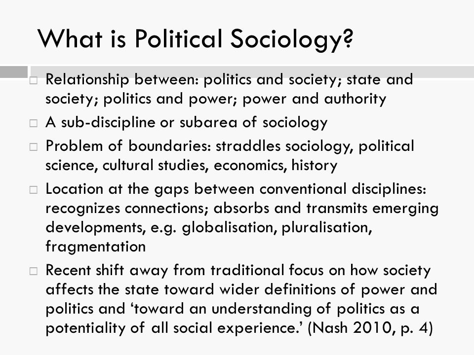 What is Political Sociology.