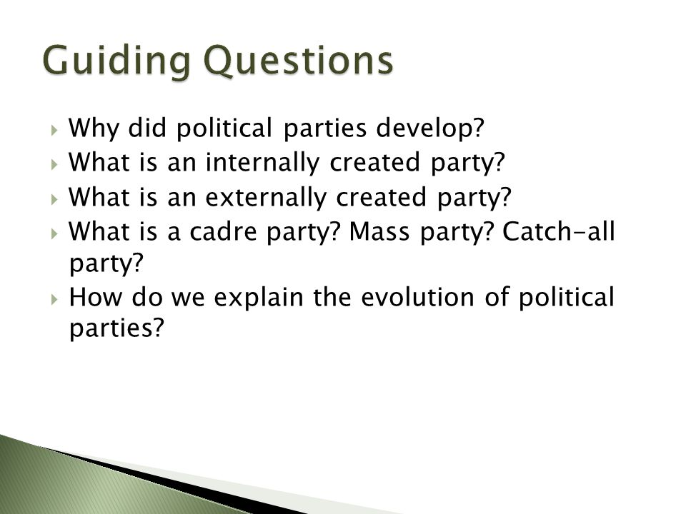  US never develops truly mass based parties per se; party funding never based on dues.