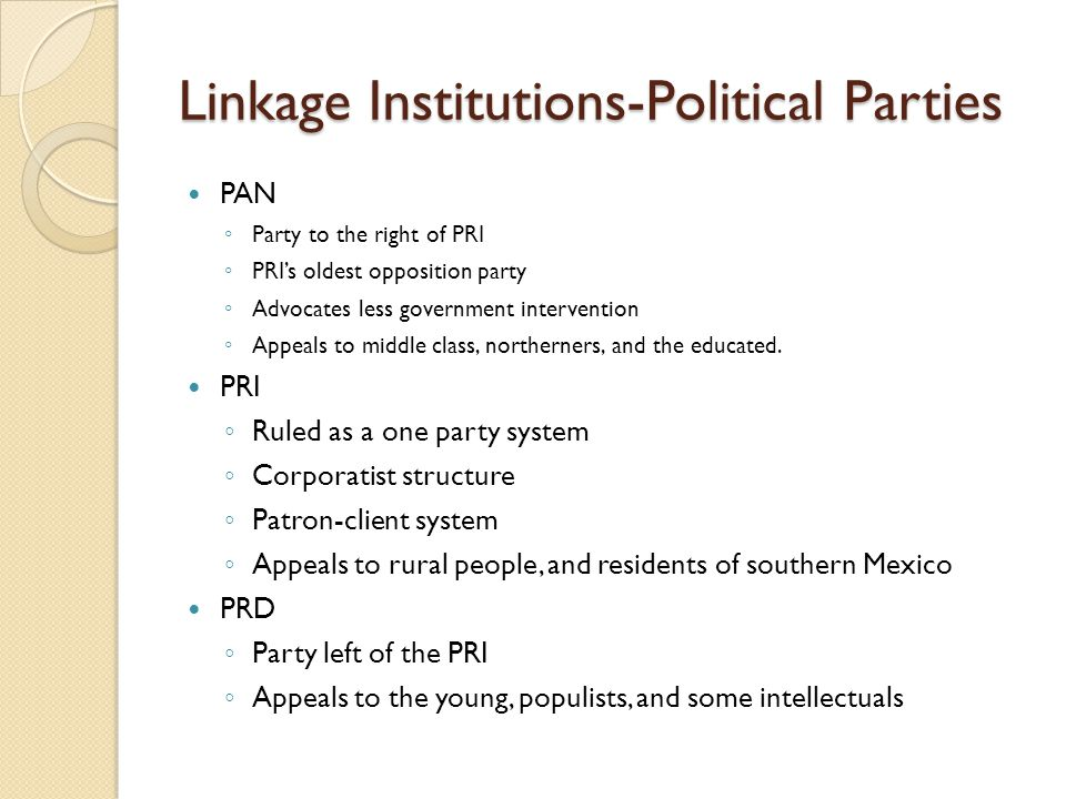 Linkage Institutions-Political Parties PAN ◦ Party to the right of PRI ◦ PRI's oldest opposition party ◦ Advocates less government intervention ◦ Appe