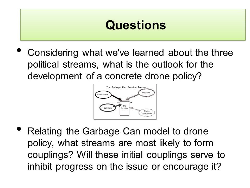 Questions Considering what we've learned about the three political streams, what is the outlook for the development of a concrete drone policy? Relati
