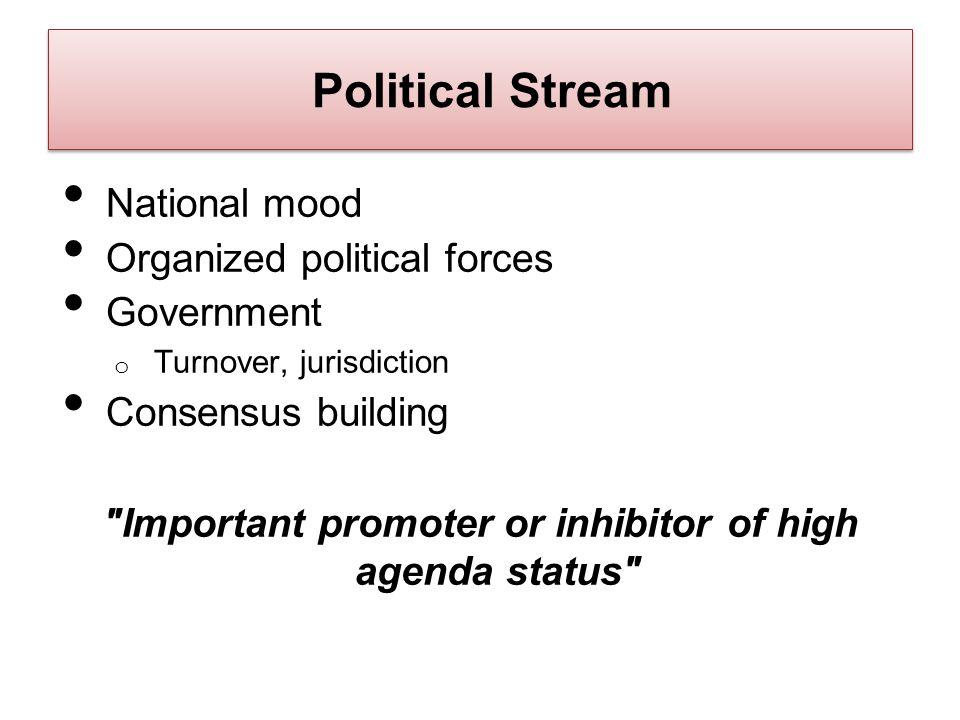 Political Stream National mood Organized political forces Government o Turnover, jurisdiction Consensus building