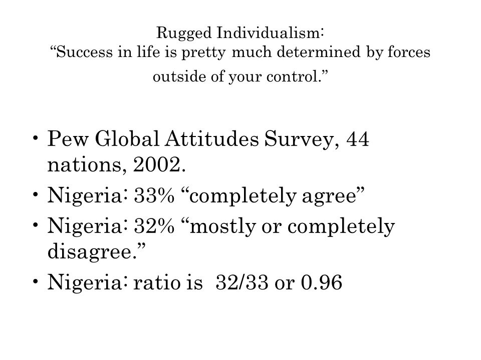 Rugged Individualism: Success in life is pretty much determined by forces outside of your control. Pew Global Attitudes Survey, 44 nations, 2002.