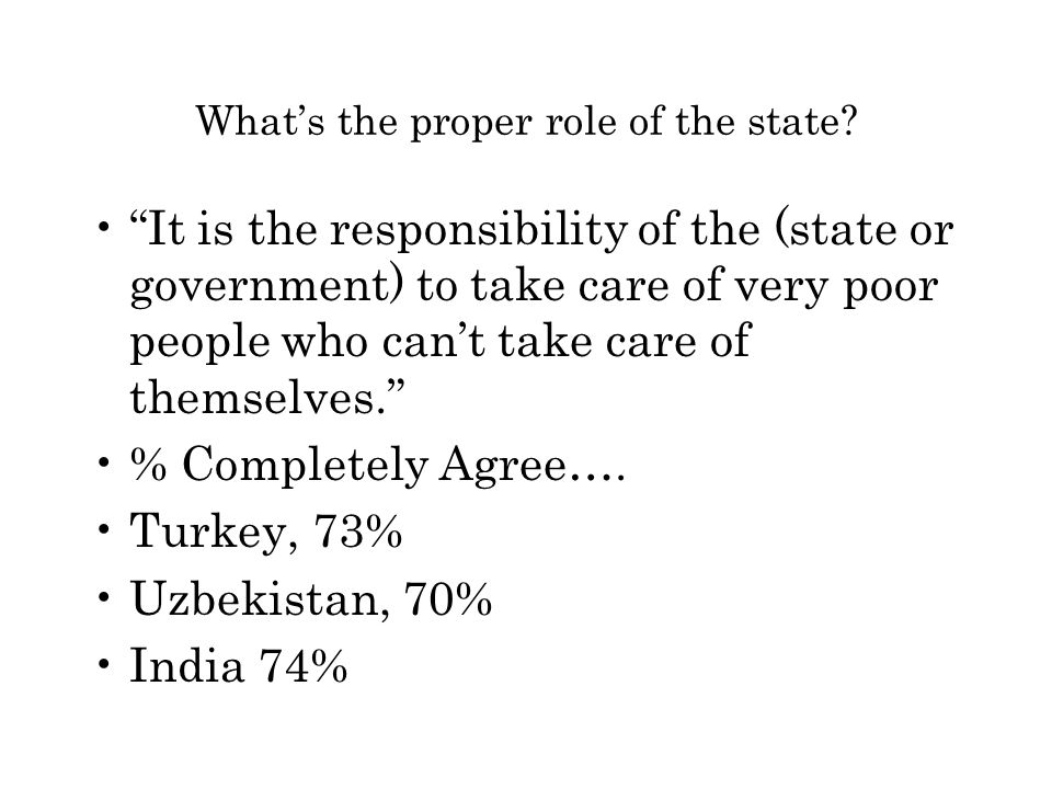 """What's the proper role of the state? """"It is the responsibility of the (state or government) to take care of very poor people who can't take care of th"""