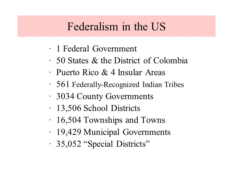 ·1 Federal Government ·50 States & the District of Colombia ·Puerto Rico & 4 Insular Areas ·561 Federally-Recognized Indian Tribes ·3034 County Govern