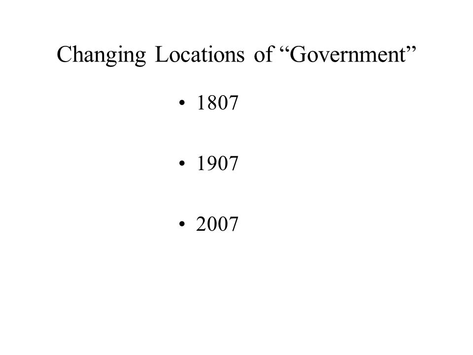 Changing Locations of Government 1807 1907 2007