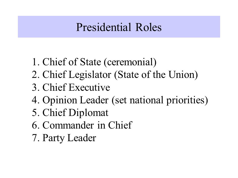 1. Chief of State (ceremonial) 2. Chief Legislator (State of the Union) 3. Chief Executive 4. Opinion Leader (set national priorities) 5. Chief Diplom