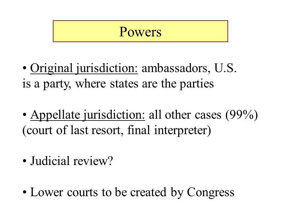 Powers Original jurisdiction: ambassadors, U.S.