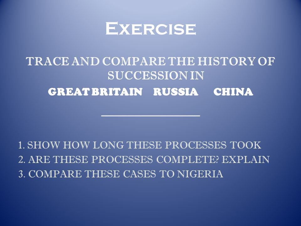 Exercise TRACE AND COMPARE THE HISTORY OF SUCCESSION IN GREAT BRITAINRUSSIACHINA _______________ 1.