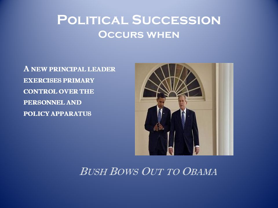 Political Succession Occurs when A NEW PRINCIPAL LEADER EXERCISES PRIMARY CONTROL OVER THE PERSONNEL AND POLICY APPARATUS B USH B OWS O UT TO O BAMA