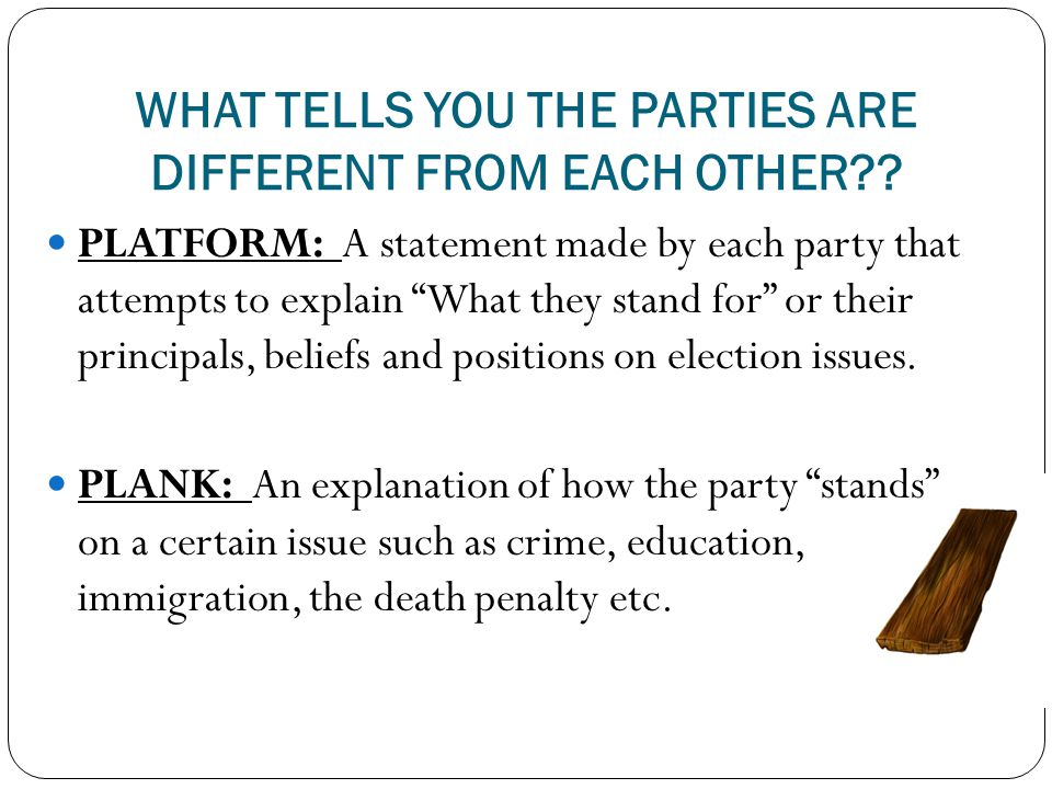 WHAT TELLS YOU THE PARTIES ARE DIFFERENT FROM EACH OTHER?.