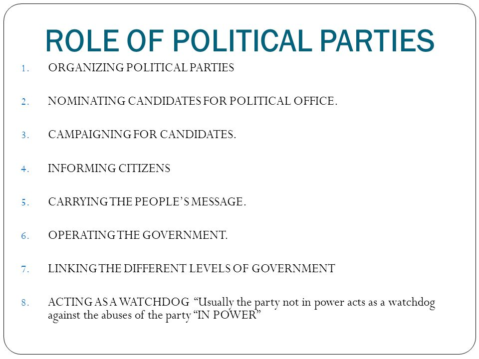 ROLE OF POLITICAL PARTIES 1.ORGANIZING POLITICAL PARTIES 2.