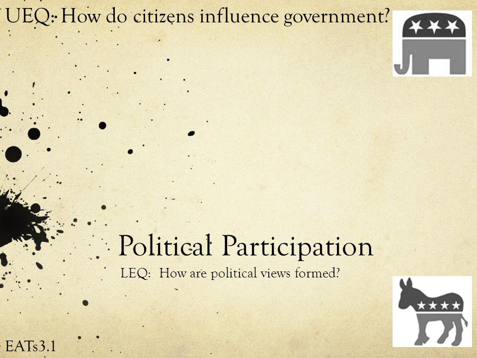 Political Participation LEQ: How are political views formed.