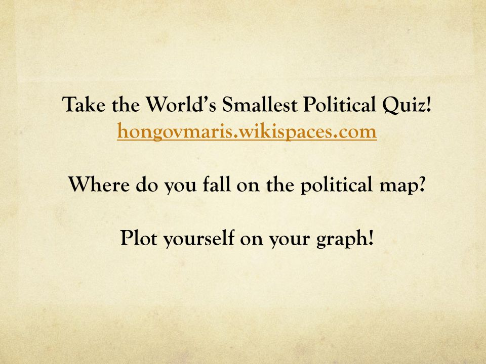 Take the World's Smallest Political Quiz.
