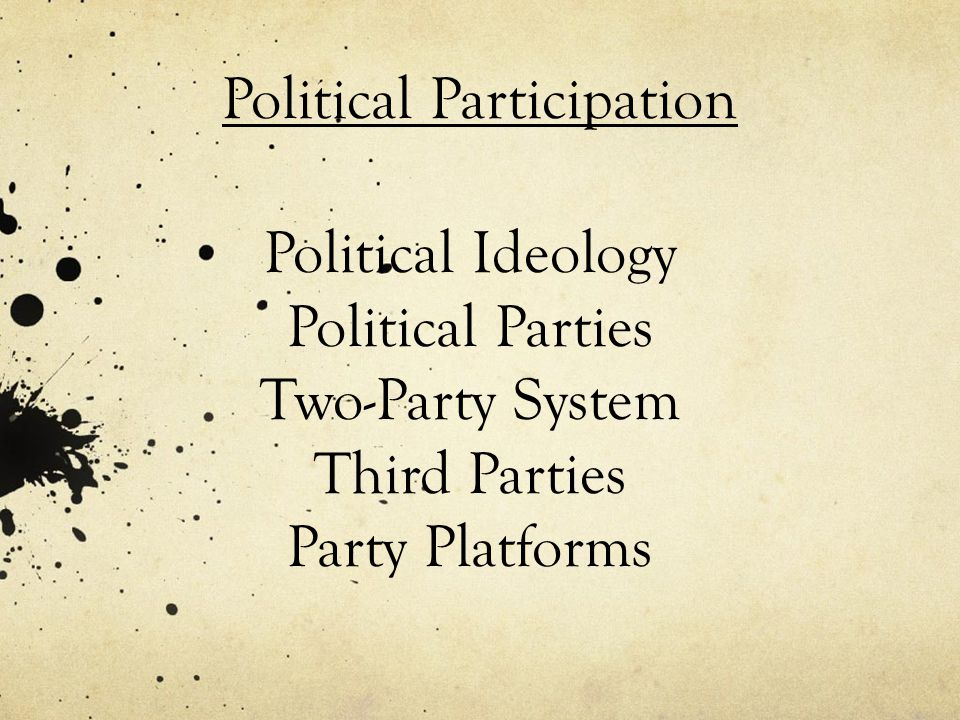 Political Ideology Political Parties Two-Party System Third Parties Party Platforms Political Participation