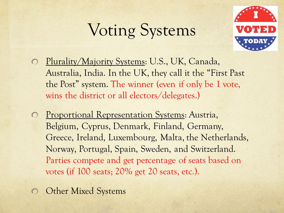 Voting Systems Plurality/Majority Systems: U.S., UK, Canada, Australia, India.
