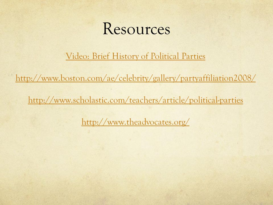 Resources Video: Brief History of Political Parties
