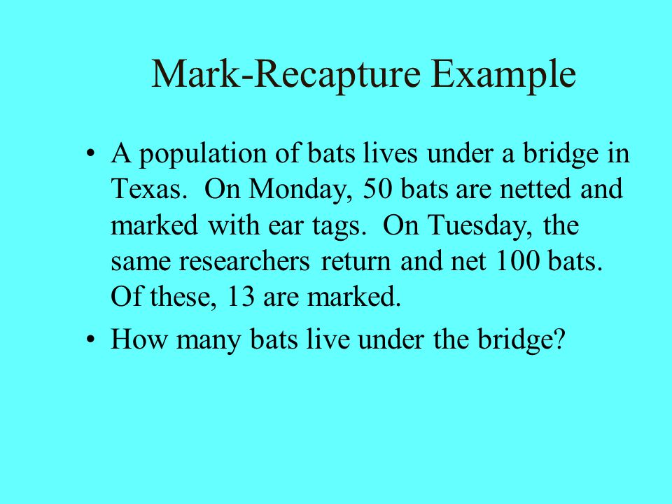 Mark-Recapture Example A population of bats lives under a bridge in Texas. On Monday, 50 bats are netted and marked with ear tags. On Tuesday, the sam
