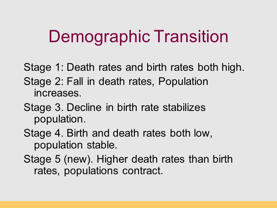 Demographic Transition Stage 1: Death rates and birth rates both high. Stage 2: Fall in death rates, Population increases. Stage 3. Decline in birth r