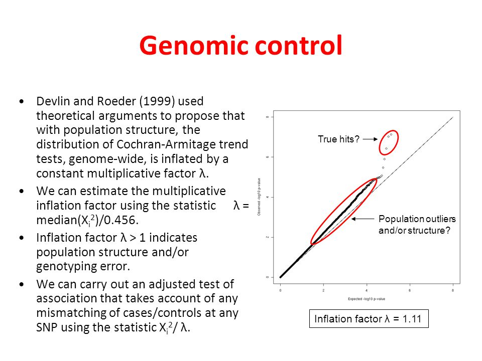 Comments Advantages.Easy to implement genomic control in whole genome association studies.