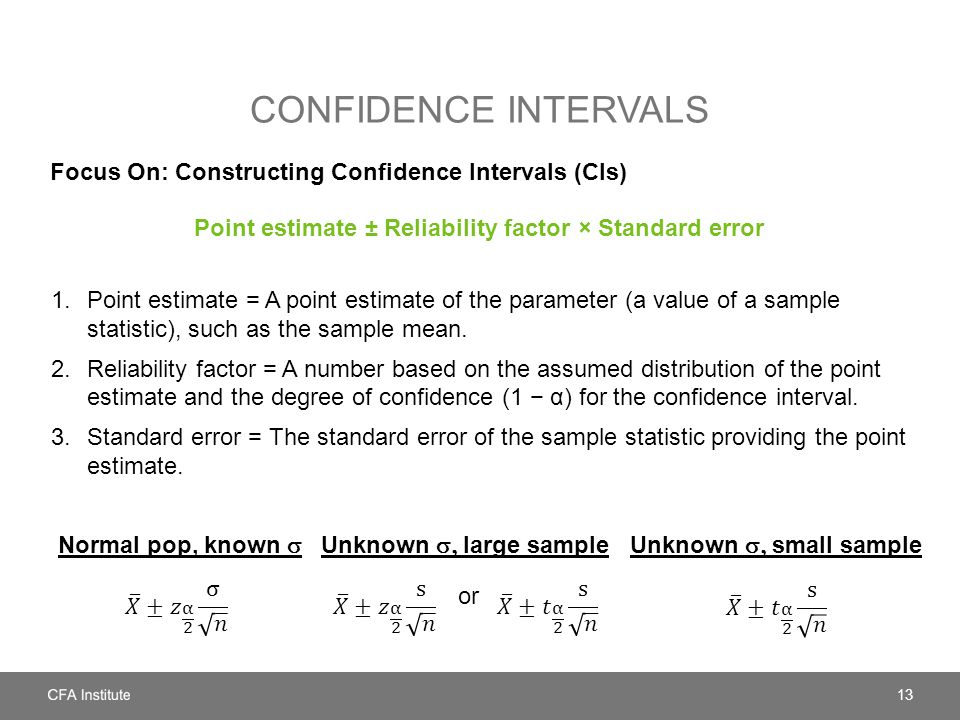 CONFIDENCE INTERVALS Focus On: Constructing Confidence Intervals (CIs) 1.Point estimate = A point estimate of the parameter (a value of a sample stati