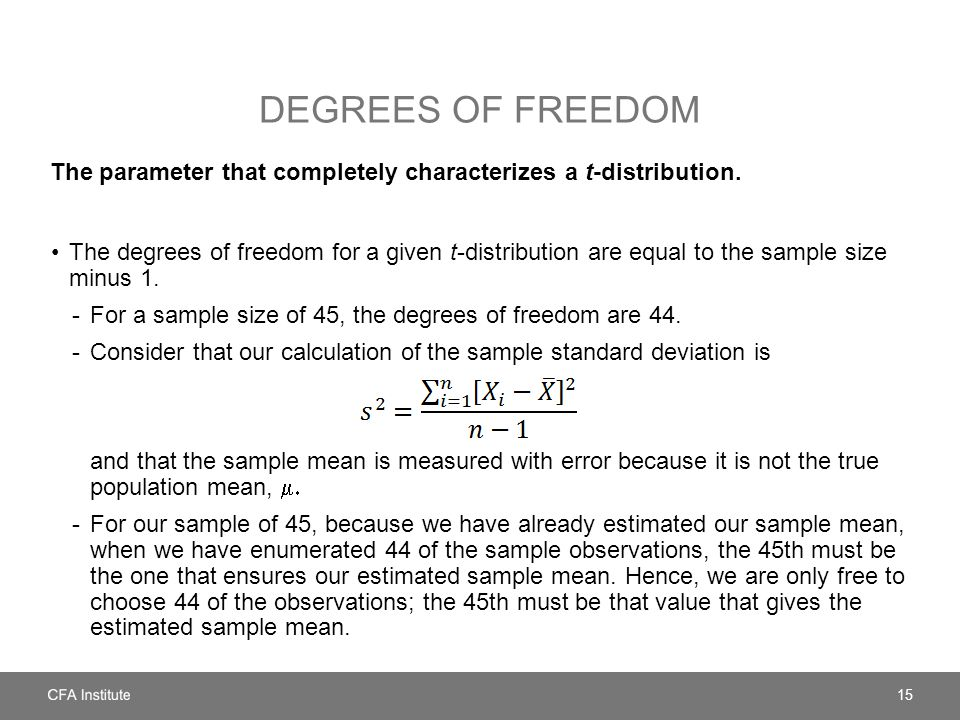 DEGREES OF FREEDOM The parameter that completely characterizes a t-distribution. The degrees of freedom for a given t-distribution are equal to the sa