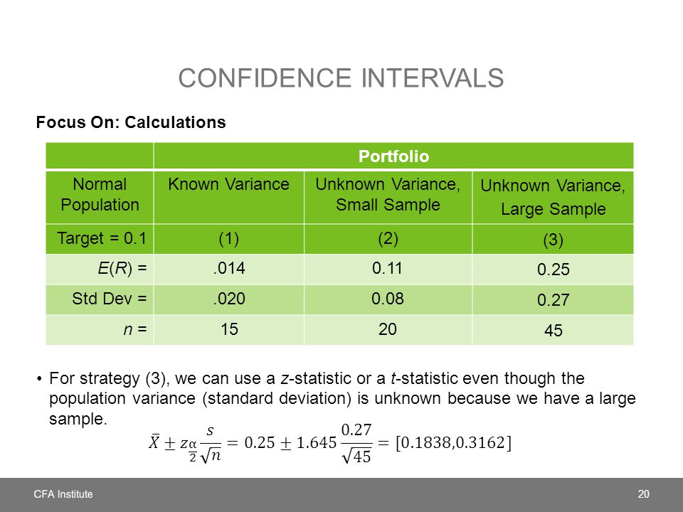 CONFIDENCE INTERVALS Focus On: Calculations For strategy (3), we can use a z-statistic or a t-statistic even though the population variance (standard