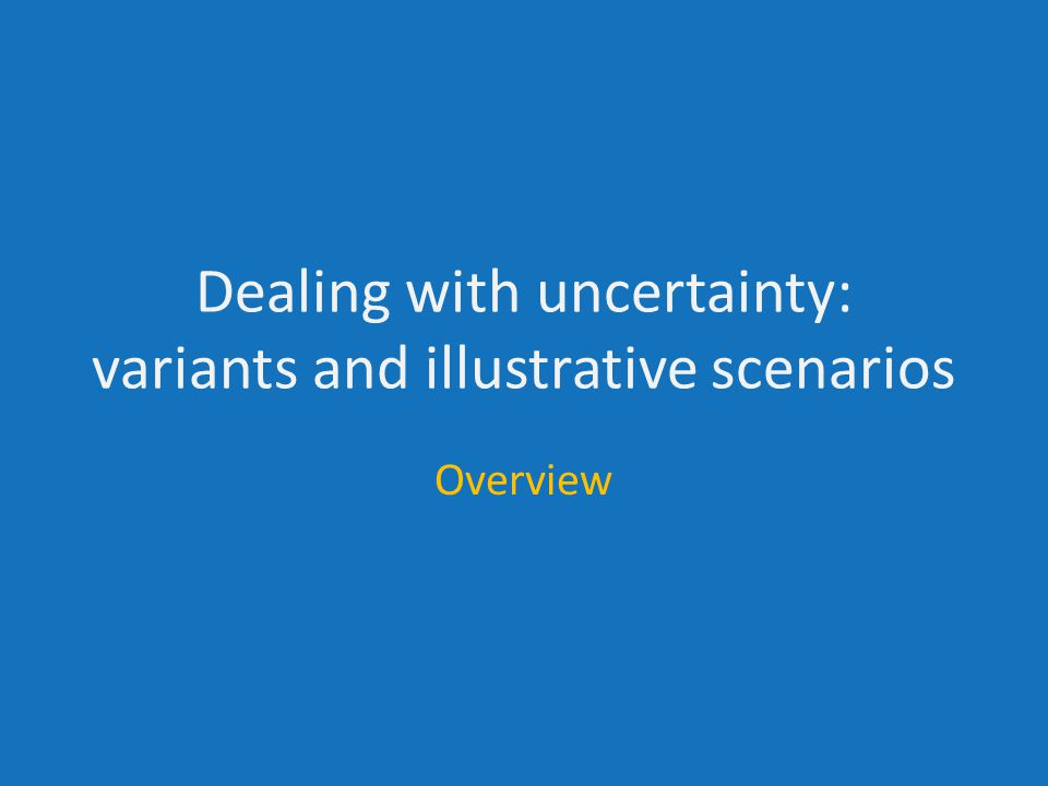 Dealing with uncertainty: variants and illustrative scenarios Overview