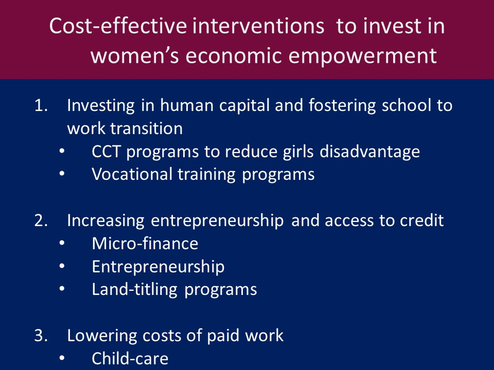 Cost-effective interventions to invest in women's economic empowerment 1.Investing in human capital and fostering school to work transition CCT programs to reduce girls disadvantage Vocational training programs 2.Increasing entrepreneurship and access to credit Micro-finance Entrepreneurship Land-titling programs 3.Lowering costs of paid work Child-care