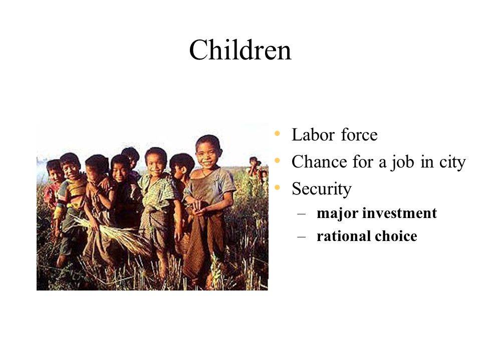 Children Labor force Chance for a job in city Security – major investment – rational choice