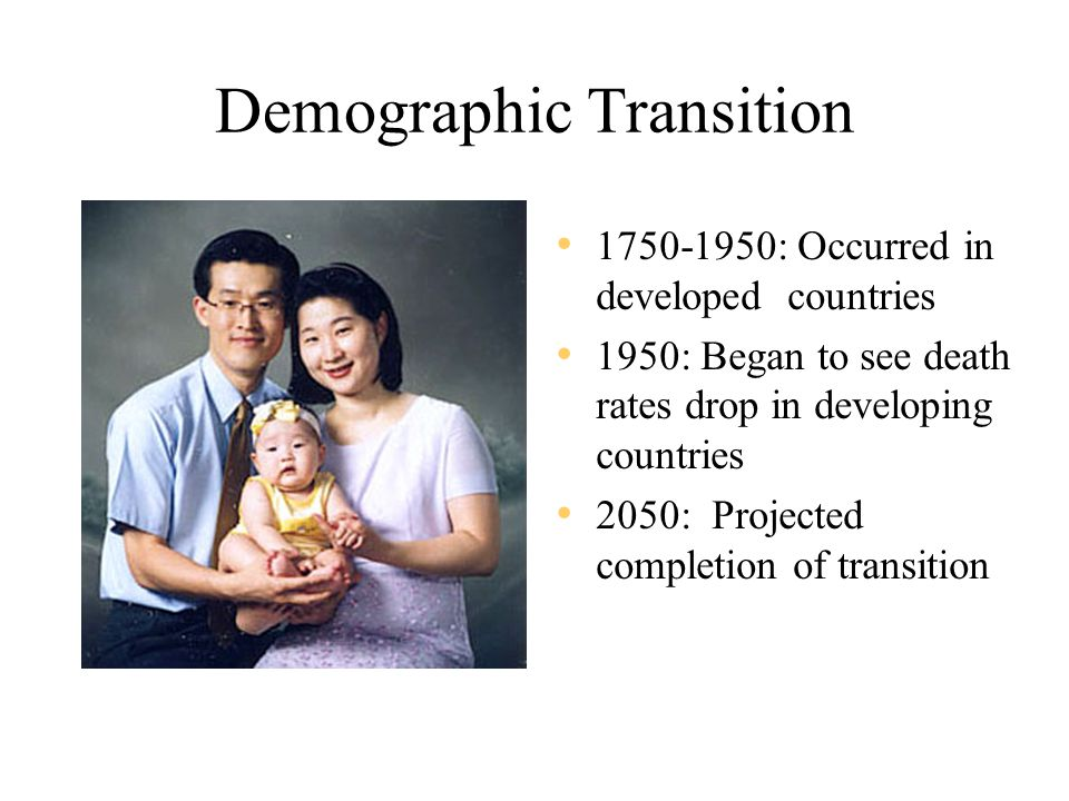 Demographic Transition 1750-1950: Occurred in developed countries 1950: Began to see death rates drop in developing countries 2050: Projected completion of transition