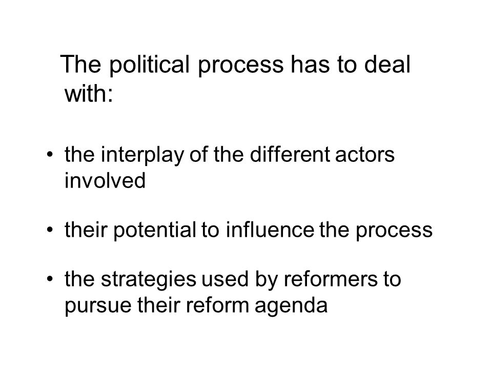 The political process has to deal with: the interplay of the different actors involved their potential to influence the process the strategies used by reformers to pursue their reform agenda