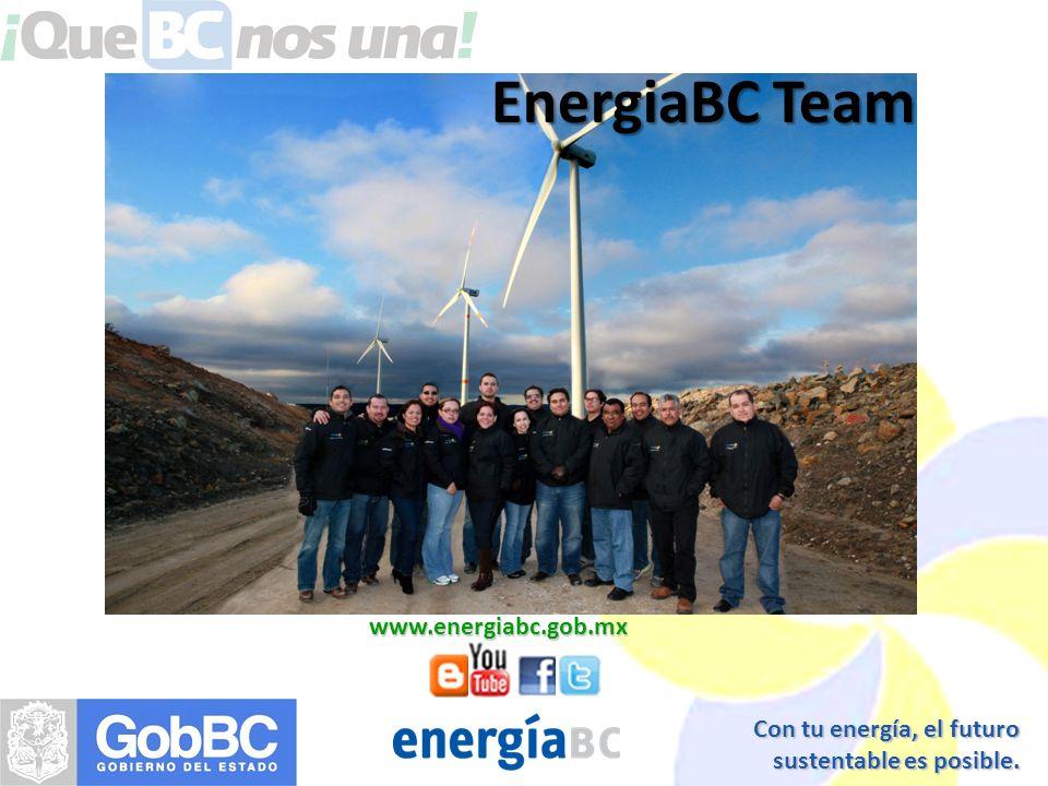 Con tu energía, el futuro sustentable es posible. www.energiabc.gob.mx EnergiaBC Team