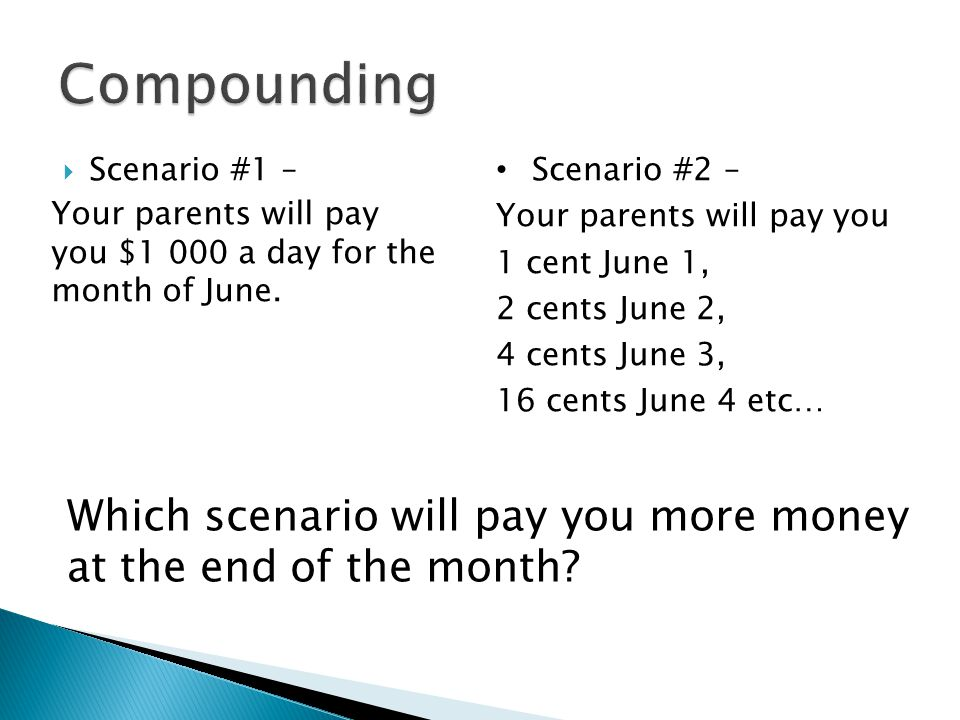  Scenario #1 – Your parents will pay you $1 000 a day for the month of June.