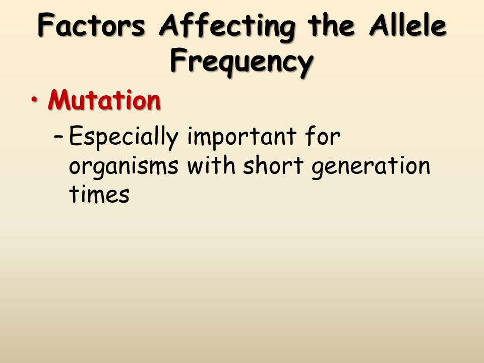 Factors Affecting the Allele Frequency MutationMutation –Especially important for organisms with short generation times