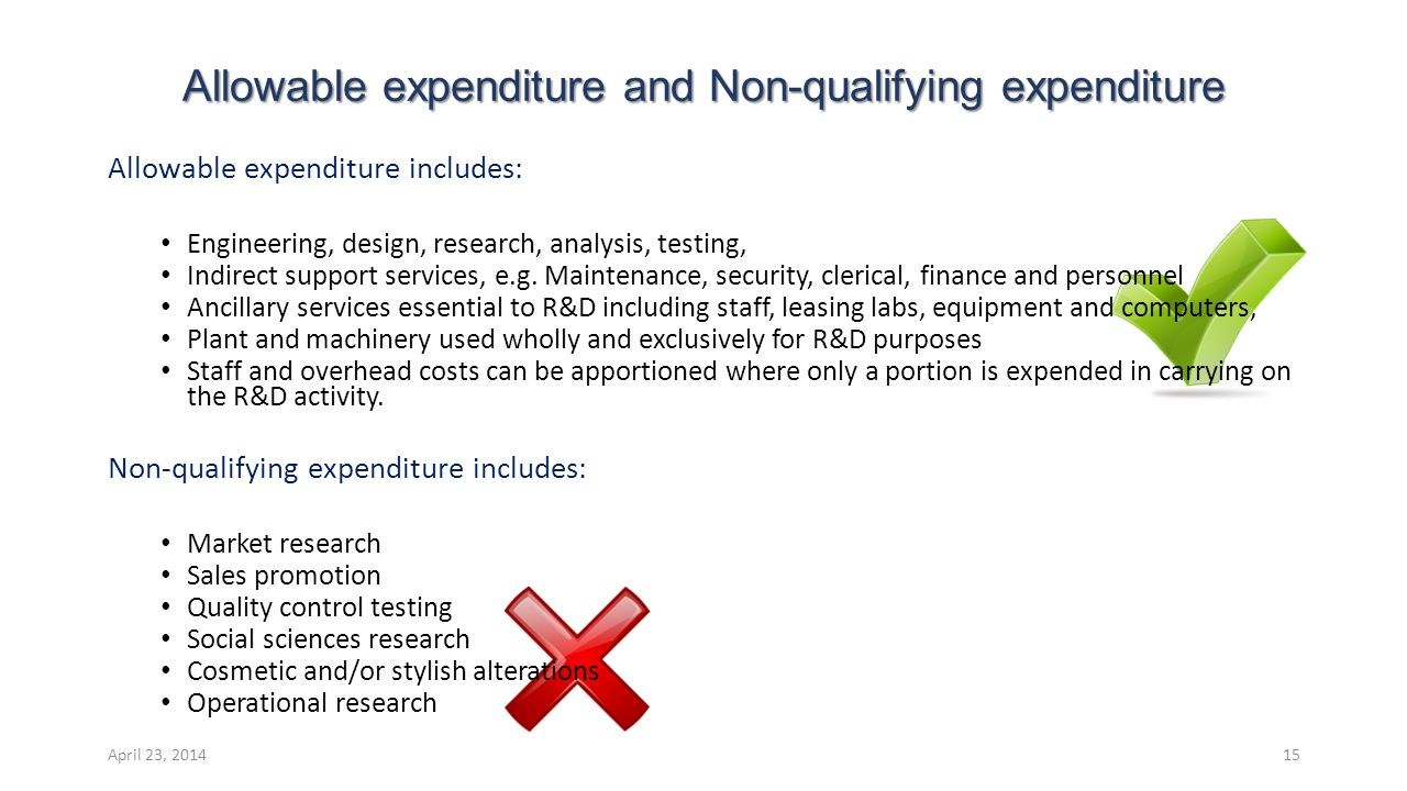 Allowable expenditure includes: Engineering, design, research, analysis, testing, Indirect support services, e.g.