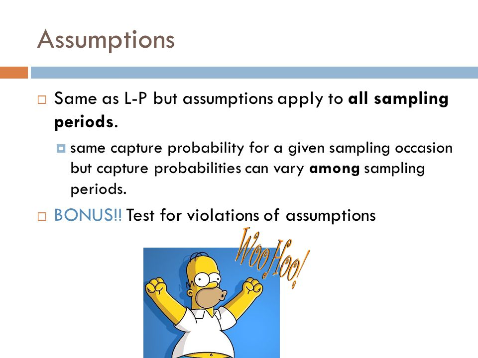 Assumptions  Same as L-P but assumptions apply to all sampling periods.  same capture probability for a given sampling occasion but capture probabil