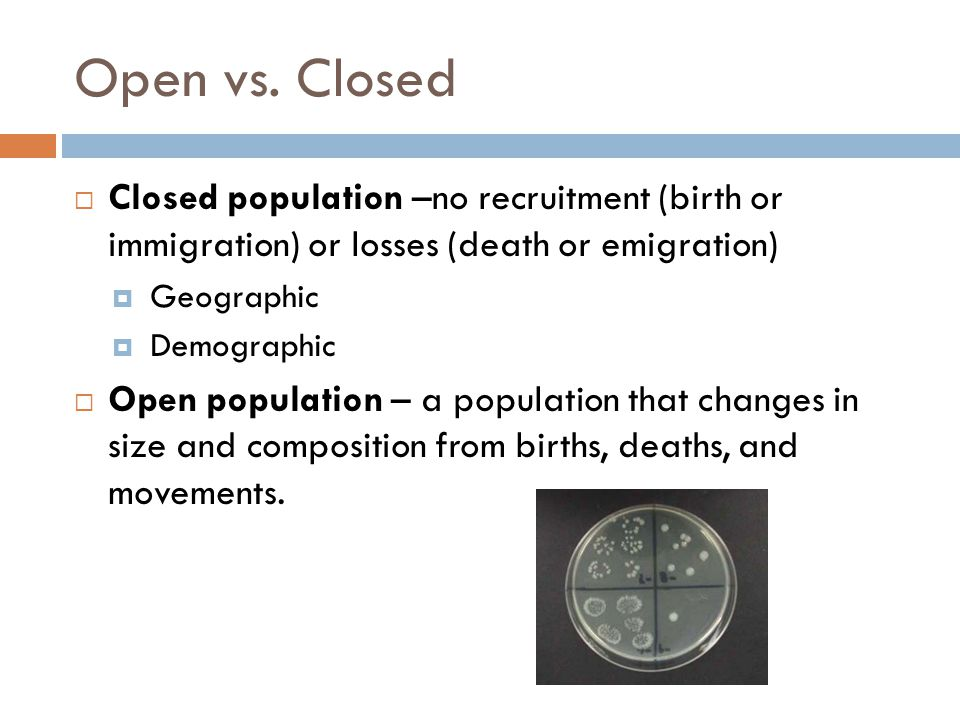 Open vs. Closed  Closed population –no recruitment (birth or immigration) or losses (death or emigration)  Geographic  Demographic  Open populatio